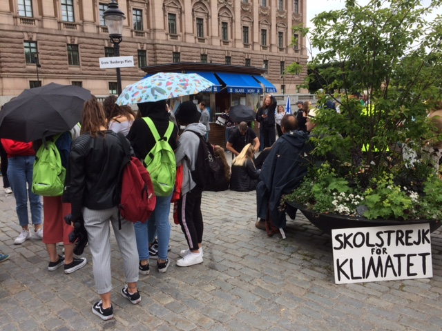 Skolstrejk för Klimatet - in front of the Swedish Parliament in Stockholm
