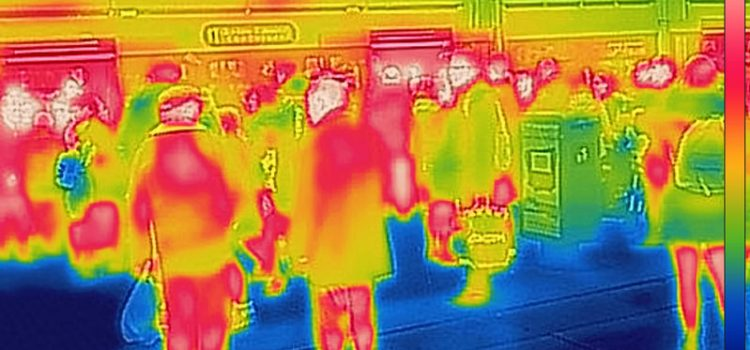 Fever scan via thermal imaging at a train station